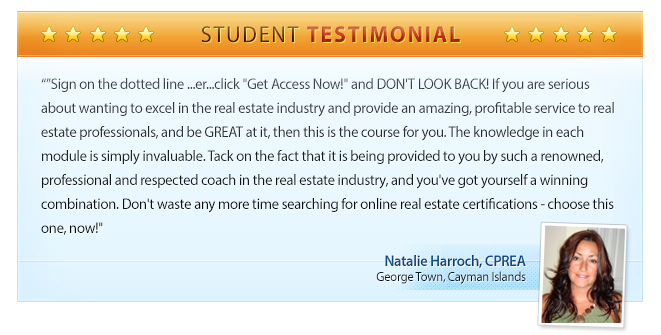 Professional Real Estate Assistant Certification Program Testimonial - Natalie Harrochs, CPREA